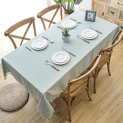 ZXCN Manteles Impermeable de Rectangular Household Cotton and Linen Antimanchas Resistente a Líquidos Fácil de Limpiar Green Blue a 140×250cm