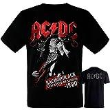AC/DC - Back in Black - Camiseta Negra Hombre Manga Corta - ACDC Tshirt (M)