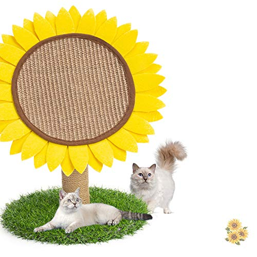 MXiiXM Sunflower Cat Tree - Cat Scratching Post and Climbing Frame with Natural Sisal Rope for Cats, Interactive Toys Scratching Board for Kittens Activity Tree and Play Tree Tower