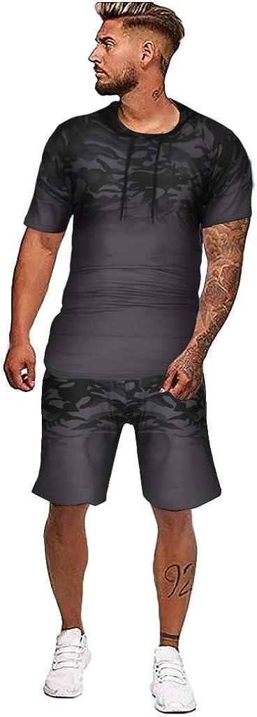 Men's Sports Suit Tracksuit Camouflage Print Short Sleeve T Shirts and Shorts Stylish Casual Sweatsuit Set