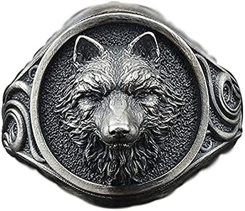 FLQWLL Anillo De Cabeza De Lobo Vikingo para Hombre, Anillo De Amuleto De Tótem De Lobo Retro Punk, Anillo Gótico para Hombre Y Mujer, Regalo,10