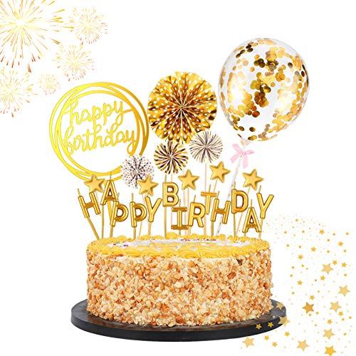 ETHEL Happy Birthday Cake Topper Gâteau Anniversaire Décoration Cake Topper Joyeux Anniversaire Bannière Confettis Ballon Star Décor Fille Garçon Femmes Homme (d or)