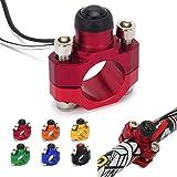 Interruptor de parada y arranque de motor universal de Ysmoto con placa trasera de montaje para motocicleta (rojo)