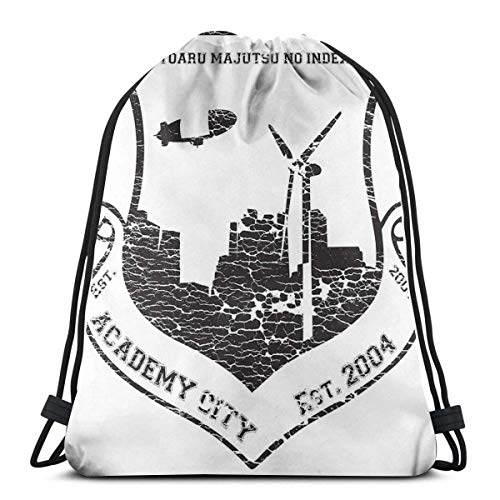 N / A Unisex Drawstring Backpack,Academy City Vintage Sports Gym Bag,Foldable Sackpack Backpack,Boys Girls Teens School Backpack For Traveling,New Year Gift,Birthday Gift