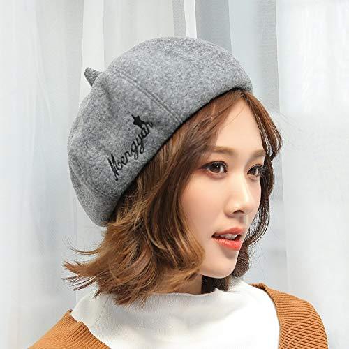 JXFM geborduurde muts met letters herfst en winter mode schilderij hoed dames grijs