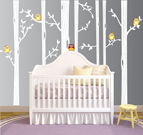 Nursery Birch Tree Wall Decal Set With Owl Birds Forest Vinyl Sticker, Birch Tree Wall Decal, Birch Tree Decal Baby Boy Whimsical Owls (7 trees) #1321 (84' (7ft) Tall, White Trees, Yellow Owls)