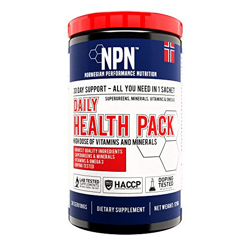 NPN Daily Health Pack | Strong dose vitamin & mineral packs with Greens and Omega 3 | Athletes choice | 30 portion packs (1 month supply)