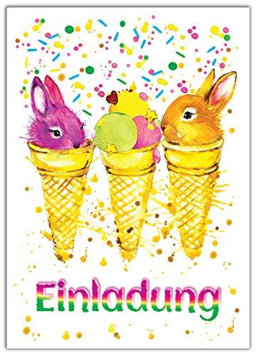 12 Einladungskarten Kindergeburtstag Mädchen Jungen Tiere Jungs Geburtstagseinladungen Einladungen Geburtstags Party Kartenset Kaninchen