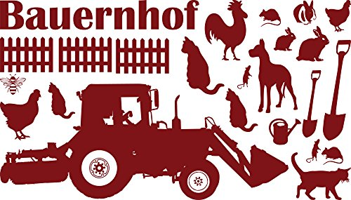 GRAZDesign muurtattoo kinderkamer boerderij met dieren - wandsticker wanddecoratie jeugdkamer tractor trekker / 770076 030, donkerrood