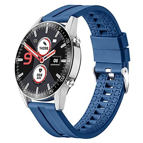 QFSLR Smartwatch Fitness Reloj Inteligente con Monitor De Frecuencia Cardíaca Monitor De Presión Arterial Monitoreo De Oxígeno En Sangre Seguimiento del Sueño Reloj Deportivo,Azul