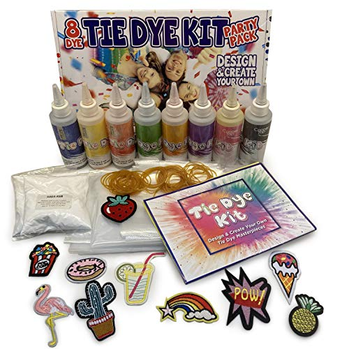 Tie Dye Kit With 8 Tie Dye Paint Colours Plus 10 Iron-On Patches. Our Tye Dye Kits Are The Perfect Make Your Own Gifts For Girls, or Party Activity For Kids, Adults and Groups