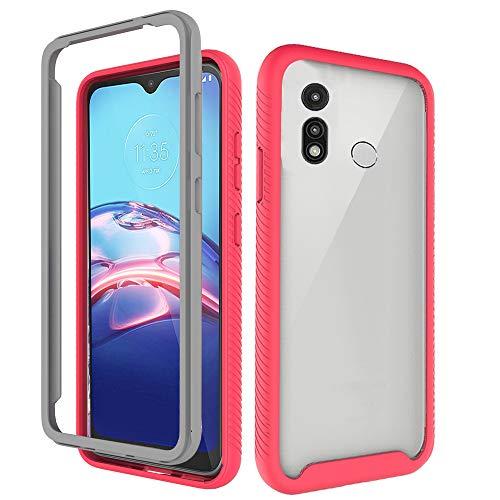 BESTCASESKIN 360° Protección Funda Compatible con Motorola Moto E7/Moto E 2020, Carcasa Móvil de Protector 2 en 1, Caso Case Cover Rojo Cubierta