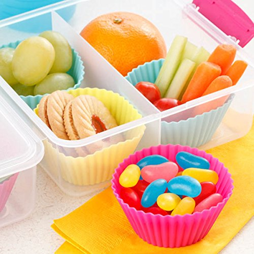 Silicone Cupcake Liners Baking Cups Non-Stick Jumbo Reusable Muffin Molds Bento Bundle Lunch Box Dividers (30-Pack)