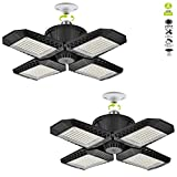 2 Pack LED Garage Lights, 100W Deformable LED Garage Ceiling Lights with 4 Adjustable Panels, 10000LM E26 LED Shop Lights for Garage, Basement, Barn, High Bay Light (Black, 2 Pack)