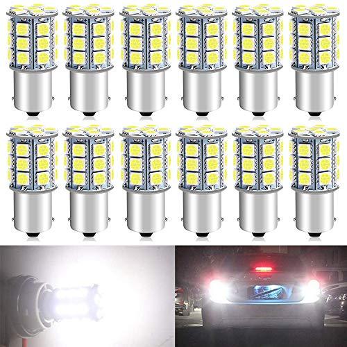 ALOPEE Paquet de 12 1156 BA15S 7506 1141 1003 1073 Blanc LED 12V-DC, 5050 27 SMD Remplacement De Voiture Pour Intérieur RV Camper Eclairage Clignotants Lampes Tail BackUp Ampoules