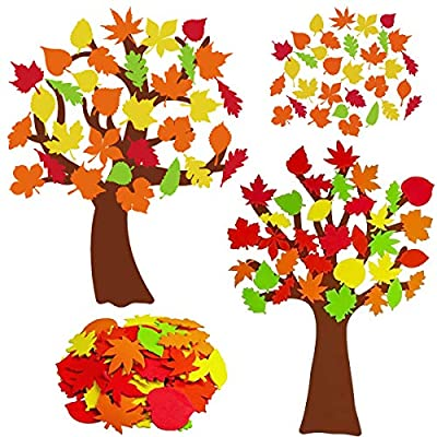 EIRMEON 2 Pack Fall Tree of Thanks Craft Kit,DIY Felt Fall Tree Board Foam with 120 Pieces Autumn Maple Leaf Stickers Self Adhesive for Kids Gifts Thanksgiving Art Project Family Activity Decorations