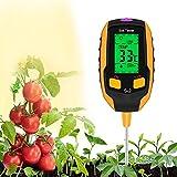 MASiKEN 5-in-1 Soil Test Meter, Digital Soil Moisture/Thermometer/Light illuminance/PH Meter/Hygrometer Tester and Monitor, Long Alloy Probe, Soil Test Kits for Outdoor House Lawn Gardening Plants
