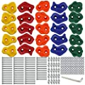 Ogrmar 25 PCS Rock Climbing Holds Set with Mounting Screws and Hardware for DIY Kids Indoor and Outdoor Play Set Use White