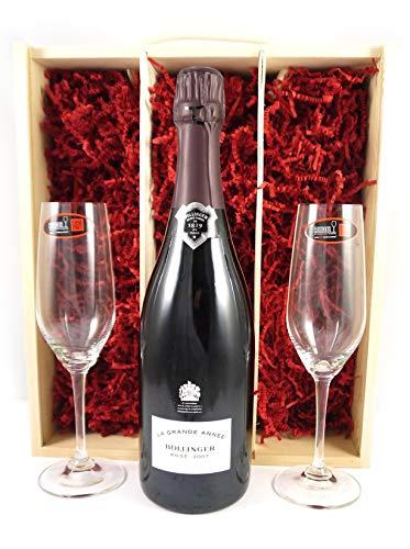 Bollinger Rosé Grand Annee Vintage Champagne 2007 with Two Riedel Crystal Champagne Flutes in einer Geschenkbox, da zu 4 Weinaccessoires