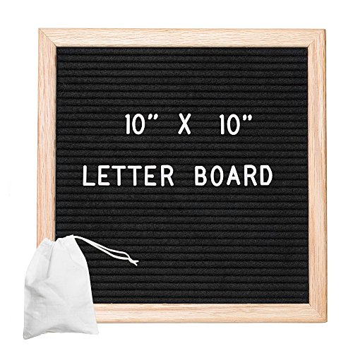 Felt Letter Board with 308 Letters, Numbers & Symbols - 12x16 Inch Changeable Message Board with Oak Wooden Frame, Plus Free Letter Bag