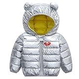 JiAmy Bambino Inverno Giacche Cappotto con Cappuccio Ragazzi Ragazze Leggero Giubbotti Argento 80cm