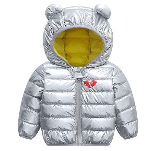 JiAmy Bambino Inverno Giacche Cappotto con Cappuccio Ragazzi Ragazze Leggero Giubbotti Argento 100cm