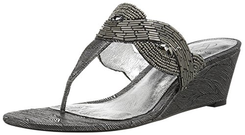Adrianna Papell Women's Coco Wedge Sandal, Pewter Wave Metallic, 6.5 M US