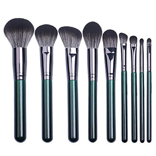 HFDXG Lot de 9 pinceaux de maquillage professionnels pour fond de teint, blush, correcteur, cosmétiques pour les yeux (vert - Taille : 9 pièces)