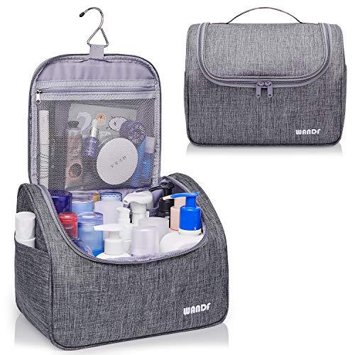 Hanging Toiletry Bag Travel Cosmetic Organizer Shower Bathroom Bag for Men Women Water-resistant (L- Light Grey)