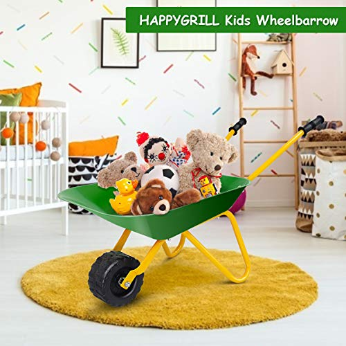 HAPPYGRILL Kids Metal Wheelbarrow, Yard Rover Steel Tray, Metal Construction Toys Kart, Tote Dirt/Leaves/Tools in Garden for Toddlers, Kids Play Tools