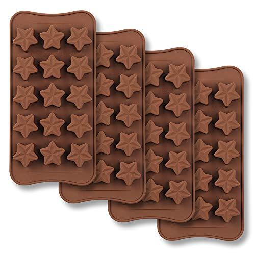 homEdge Moule à chocolat en forme d'étoile de 15 cavités, Ensemble de Moule en silicone de qualité alimentaire non collante pour gelée de bonbons, Cube de glace