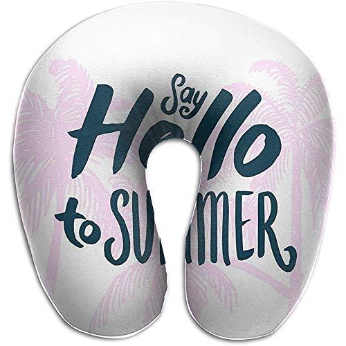 Marlon Kitty Simple Hello Summer - Cojín con Forma de U, Almohadilla para el Cuello, Almohadilla, Unisex para Comodidad en el Viaje
