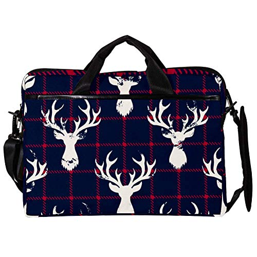 Deer Head Silhouettes Blue and Red Checkered Plaid Laptop Messenger Bag Zipper Notebook Computer Sleeve Case Compatible 14-15.4 Inch Laptop