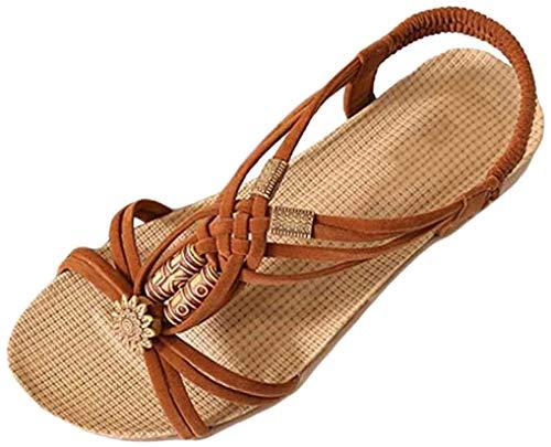 YOUJIA Frauen Casual Peep-Toe Flache Schuhe Römische Slingback Flip Flops Sommer Sandalen (Braun, EU 35/35.5)