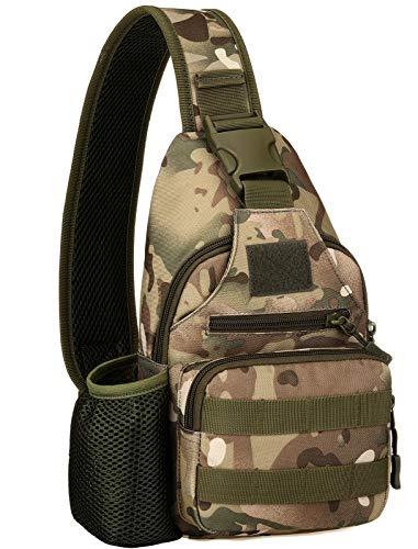 BlesMaller Mochila táctica militar MOLLE Crossbody Pack con puerto de carga USB en el pecho y el hombro, mochila para pañales EDC para moto, bicicleta, mochila de día, CP(parche incluido)