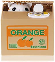 Resulzon Stealing Coin Cat Box- Piggy Bank - White Kitty - English Speaking- Great  Any Child