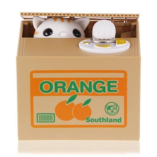 Stealing Coin Cat Box- Piggy Bank - White Kitty - English Speaking– Great Gift for Any Child