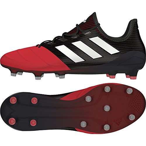 adidas Ace 17.1 Leather Fg, Botas de Fútbol para Hombre, Negro (Core Black/Footwear White/Red), 46 EU
