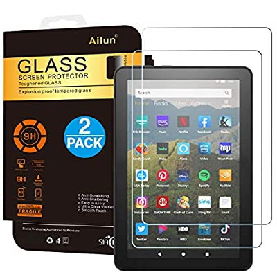 AILUN Screen Protector for All-New Amzon Kindle Fire HD 8/Fire HD 8 Plus/Fire HD 8 Kids 2020 Released 0.33 MM Premium Tempered Glass, Ultra Clear,Anti-Scratches,Case Friendly