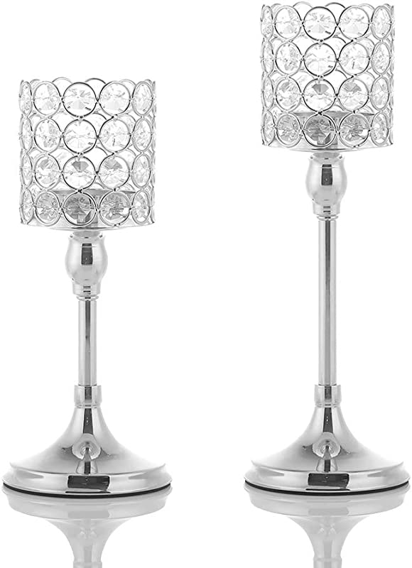 VINCIGANT Pack Of 2 Crystal Candlesticks For Mother S Day Anniversary Wedding Coffee Table Decorative Centerpiece 10 And 12 Inches Tall Silver