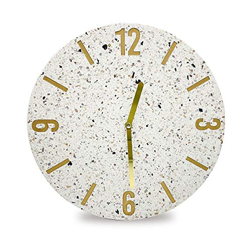 Terrazzo Silent & Non-Ticking Battery Operated Decorative 30cm 11.6inchs Modern Wall Clock for Home, Office, Living Room, Bedroom, Marble Clock, Office Decor HOCHIZE