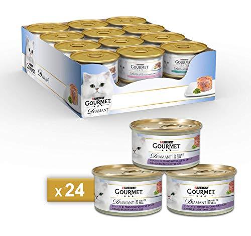 PURINA GOURMET DIAMANT Umido Gatto Fiocchi di Tonno in Gelée- 24 lattine da 85g ciascuna (confezione da 24x85g)
