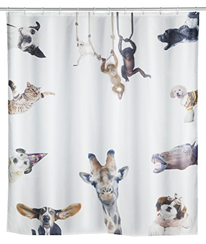 WENKO 23195100 Duschvorhang Friends, waschbar, wasserabweisend mit 12 Duschvorhangringen, Polyester, 200 x 180 cm