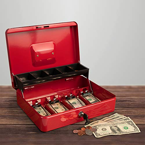 Stalwart Cash Box – Locking Steel Petty Cash Safe with Coin Tray and Spring-Loaded Money Clips for Yard Sale, Market and Concession Stand (Red)