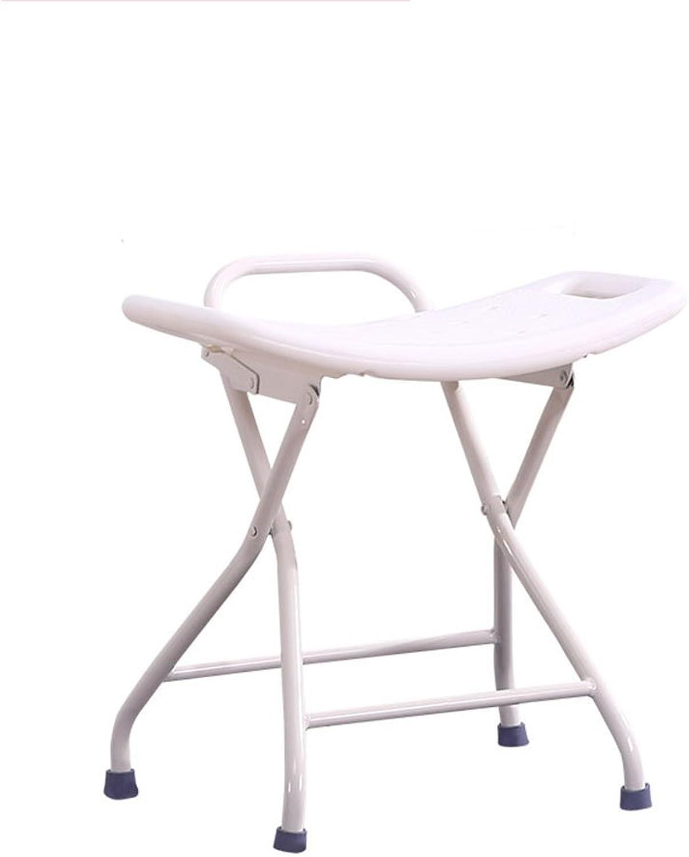 Stool, Bath Stool Home Folding Bathroom Stool Anti-Skid Bench Plastic Cushion, Steel Pipe Bracket