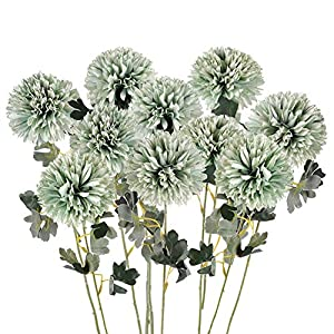 Artificial Flowers Large Chrysanthemum Ball Silk Hydrangea Flowers Bouquet Single Stem 10pcs for Home Party Wedding Bridal Centerpieces Arrangements Garden Decor (Green)