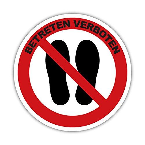 Aufkleber Verbotsschild Betreten der Fläche Verboten 5cm Rund Hinweisschild (mit Text) (1)