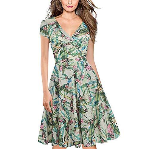 Damen Kleider Sommer V Ausschnitt Kurzarm Weste Sexy Strandkleid Jeanskleid Kleid Große Größe Kleid Polyester Blumen Bedruckt Abendkleid Cocktailkleid (EU:42, Grün)