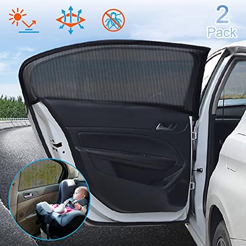 Tendine Parasole Auto, 2 Pezzi Tendine Parasole Auto Finestrino Laterale Per Traspirante Protezione Solare Isolamento Termico, Protegge Bambini e...