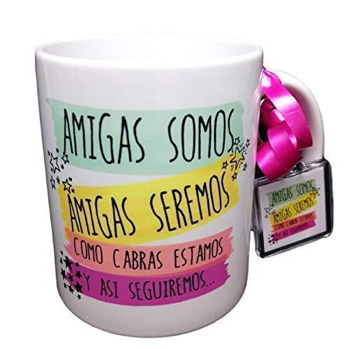 Taza Y Llavero Frase Amigas Somos, Amigas seremos, como Cabras Estamos y así seguiremos Regalo Amistad.Regalo para Amiga.